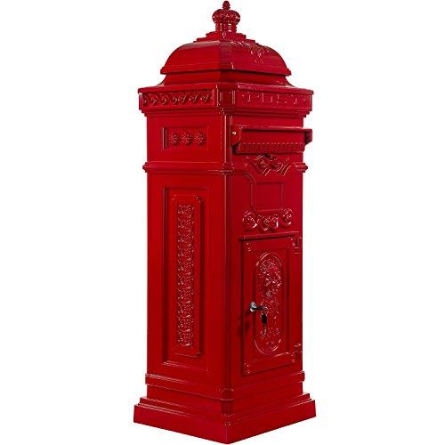 Maxstore Antiker englischer Standbriefkasten, rostfreies Aluminium, Höhe: 102,5 cm, Farbe: Rot, 3 Jahre Garantie