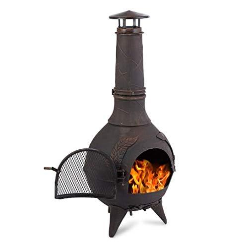 blumfeldt Augustus Heat Line - Poêle de Jardin décoratif pour Chauffage extérieur, 120 cm, Style Antique, Grille à Charbon de Bois et tisonnier Inclus, Utilisation comme Grill Possible, Bronze