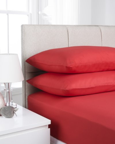Impressions Fusion Soft Touch Microfibre Polyester Kingsize Red Fitted Sheet (Pillowcases Sold Separately)