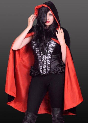 Gothic Black Velvet Red Lined (Black Cape Velvet)