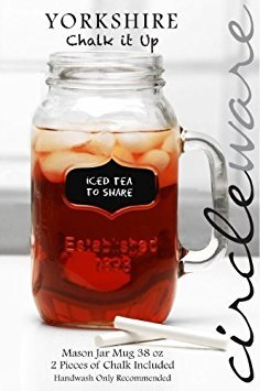 Circleware Yorkshire Chalkboard Note GLASS MASON JAR MUG/DRINK CUP, 1 MUG, 2 Peices Of CHALK INCLUDED, 38 Ounce by Circleware