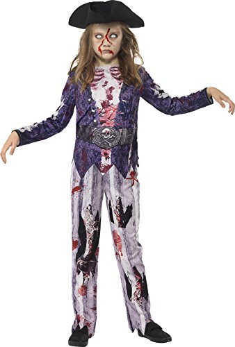 Smiffys Kinder Jolly Rotten Pirat Mädchen Kostüm, Oberteil, Hose und Hut, Größe: L, (Piraten Zombie Kostüm Ideen)