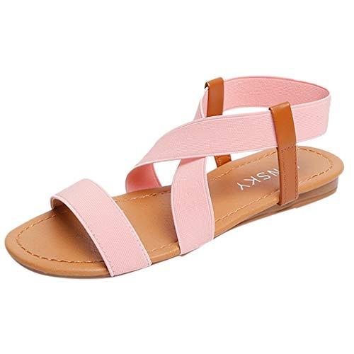 FNKDOR Schuhe Römische Sandalen Damen Flacher Boden Peep-Toe Elastischer Kreuzgurt Slingback Casual Strand Sandals Pink 36 EU -