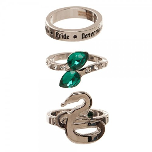 Harry Potter Houses 3 Pack Jeweled Ring Set in Gift Box Gryffindor Huffelpuff Slytherin Ravenclaw (Slytherin)