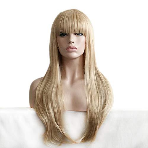 xiaofengliustore Perücke:Synthetische Perücken Wellen Stil Mit Pony Kappenlos Perücke Blond Blond Synthetische Haare Damen Blond Perücke Lang Natürliche Perücke:Blond
