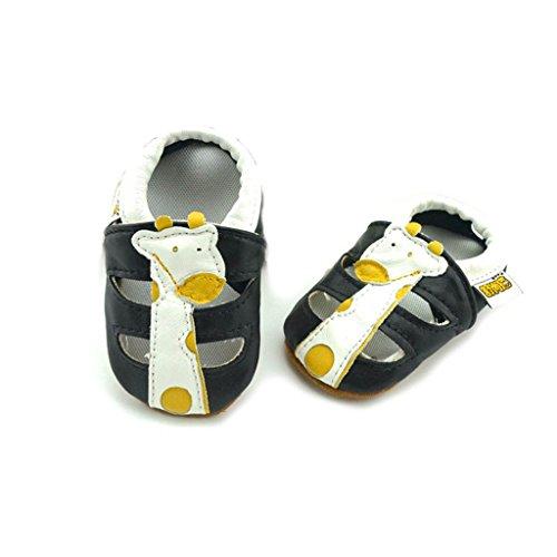 FYGOOD Chaussures Souples Bébé Chaussons Enfant Unisex en cuir Doux étoile bleu XL:24-36mois/longueur intérieur:14.5CM Girafe noir
