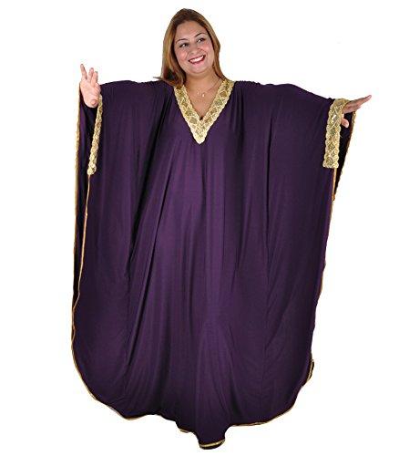 Eleganter Damen Kaftan - Kleid im Butterfly Look , Sommer - Urlaub - Hauskleid - , lila / gold (Einheitsgröße: XL bis 3XL (48-58)) (Butterfly-kaftan)