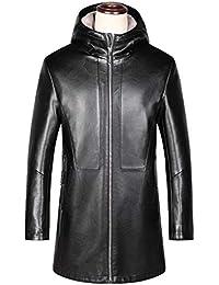Cappotti Uomo Giacca Moda Slim-Fit Pelle Addensare Inverno Lungo  Incappucciato Impermeabile Giacca A Vento 56d4f191df1