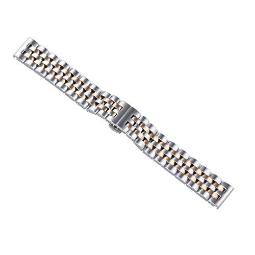 20 mm giubileo stile di lusso due d'argento di tono / oro rosa sostituzioni cinturino in metallo inox solido uniFLOW tipo pesante estremità diritta in acciaio inox