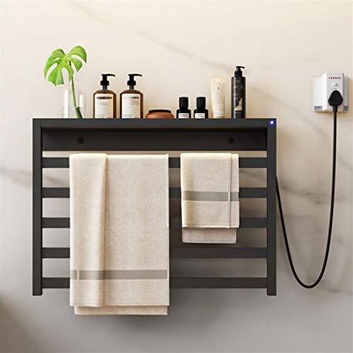 SYN-GUGAI 4-Bar Bad Handtuchheizkörper Elektrisch,Freistehend Wand Plug-In Handtuchwärmer Bad Rostfreier Stahl Handtuchhalter,580X400X100mm,60W (Color : Black Left line, Size : 580X400X100mm)