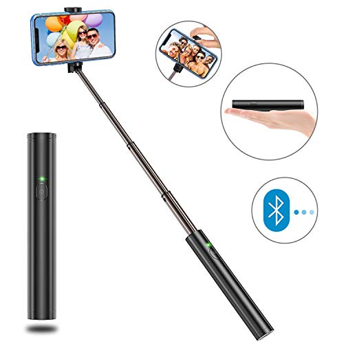 Bovon Selfiestick Bluetooth, Aluminium All-in-one Leicht Tragbare Selfiestange, Erweiterbarer Selfie Stick für iPhone 11 Pro Max/XS Max/Xr/X/8 Plus, Galaxy S10 Plus/S10e/Note 9/S10 Plus usw.