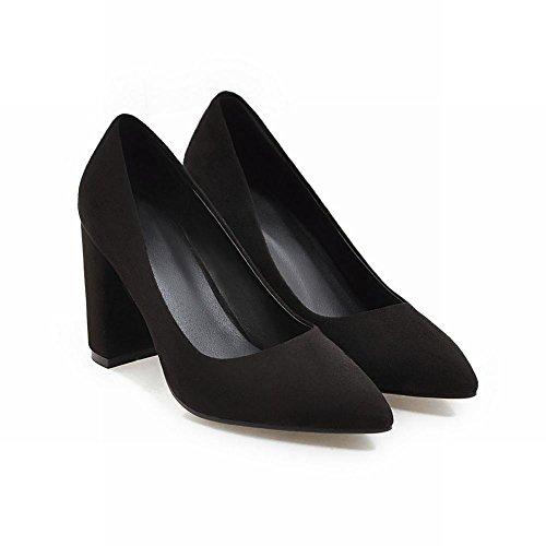 Mee Shoes Damen chunky heels spitz Nubuck Pumps Schwarz