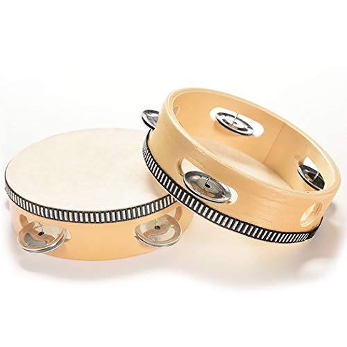 Outgeek 2PCS Tambourine Instrument Educational Wooden Tambourine Drum Musical Instrument