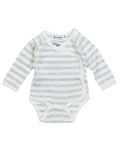Milarda Baby Body Wickelbody 813366 gestreift, Creme-grau, Größe 62