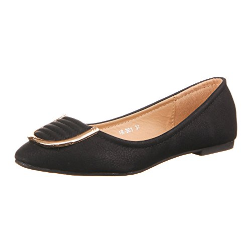 Damen Schuhe, IR-301, BALLERINAS Schwarz