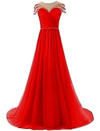 sunvary Cute a-line de tul Sheer espalda con lazo boda vestidos vestidos de fiesta