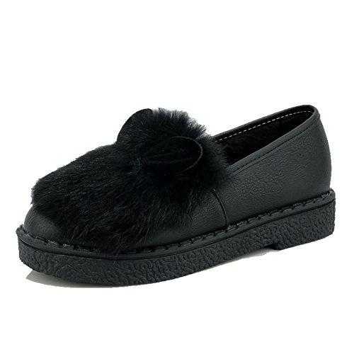 AgooLar Femme Matière Mélangee à Talon Bas Rond Couleur Unie Tire Chaussures Légeres Noir