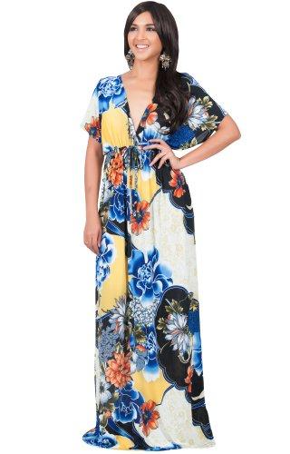 KOH KOH® Femmes Robe Longue Manches Kimono Imprimé Fleur Bleu Colbat