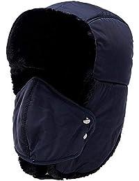 Yooeen Gorros de Aviador Hombre Mujer Sombrero de Bombardero Trooper Trapper Sombrero de Esquí con orejera y máscara a Prueba de Viento Unisexo