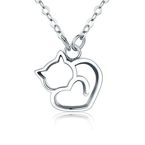 Wwf collana in argento sterling s925 personality fashion cats argento tutto il corpo in argento sterling gioielli ciondolo in argento,argento,38 + 7 centimet