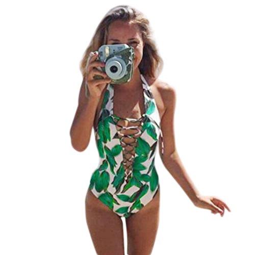 Damen Bikini-Sets Bademode ,Hffan Frauen Monokini Badeanzug Push Up Badeanzug Bikini Ein Stück Bademode Grün Swimwear Zweiteilig Strandmode Bikinioberteil Strandmode Strandkleidung (Sexy Grün, L) (Bikini Bademoden Stück Badeanzug)