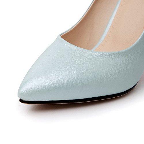 AllhqFashion Femme Pointu Stylet Matière Souple Couleur Unie Tire Chaussures Légeres Bleu