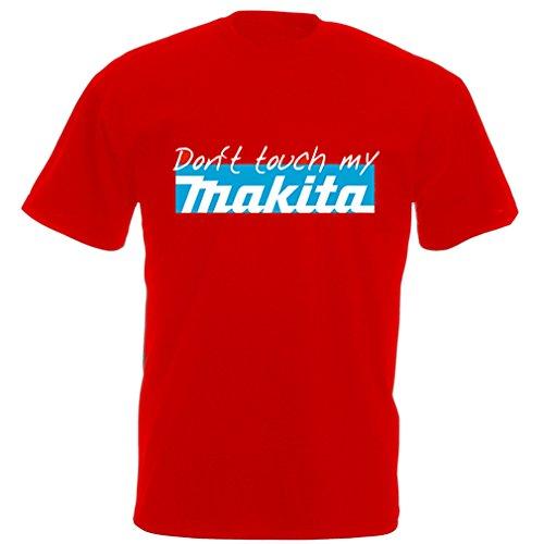 Preisvergleich Produktbild Fun Bauarbeiter T-Shirt Rot :Don't Touch My Makita
