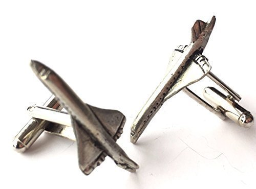 Concorde Jet Airliner handgemacht Zinn Manschettenknöpfe (N287) Verpacktes Geschenk