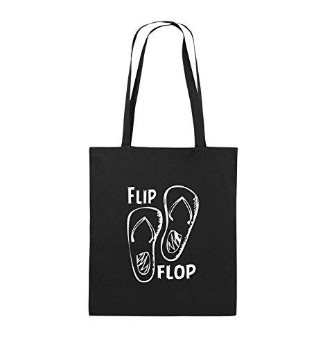 Comedy Bags - FLIP FLOP - SCHUHE - Jutebeutel - lange Henkel - 38x42cm - Farbe: Schwarz / Silber Schwarz / Weiss