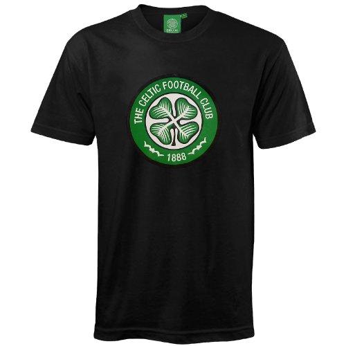 Celtic Glasgow Herren Wappen T-Shirt, kurze Ärmel - Fußballgeschenk - 100% Baumwolle - Schwarz - 3XL -