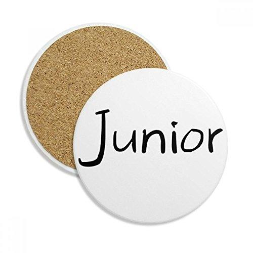 DIYthinker Schwarz Eins Wörter Junior Ceramic Coaster-Schalen-Becher-Halter Absorbent Stein für Getränke 2ST Geschenk Mehrfarbig (Becher Junior)