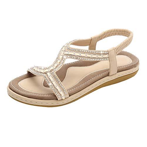 Sandalen für Damen,Dorical Damenschuhe Mädchen böhmischen Mode Flache Casual Sandalen Strand Sommer Flache Schuhe Frau Geschenk 36-43 EU Reduziert(Beige-1,40 EU)