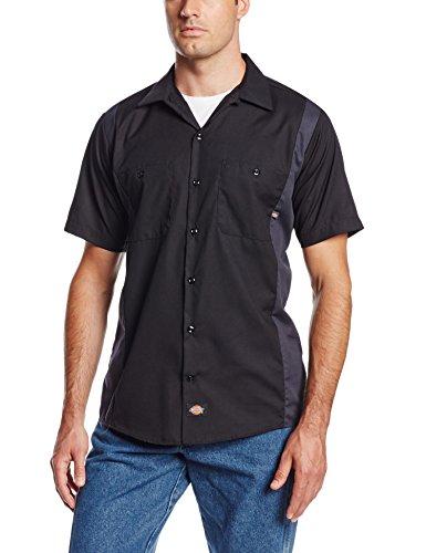 Dickies Littmann Workwear ls524bkch Polyester/Baumwolle Herren Short Sleeve Industrie Color Block Shirt, schwarz/dunkel charcoal, XL Tall, Black/Dark Charcoal, 1 -