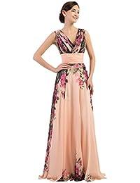 GRACE KARIN® Damen Abendkleider Lang Chiffon Blumenmuster Brautjungfernkleid Hochzeitskleider Größe 32-54