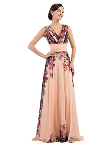 Schick abendkleid bodenlang chiffon kleid evening dress abendveranstaltung kleid blumendruck...