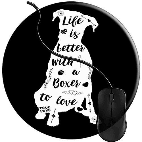 Mauspad,Boxer-Leben Ist Besser Boxer-Hundeschreibtisch-Auflage-Rutschfeste Art- Und Weisemausunterlage-Matte Decoractive Für Innenministerium 20X20 Cm -