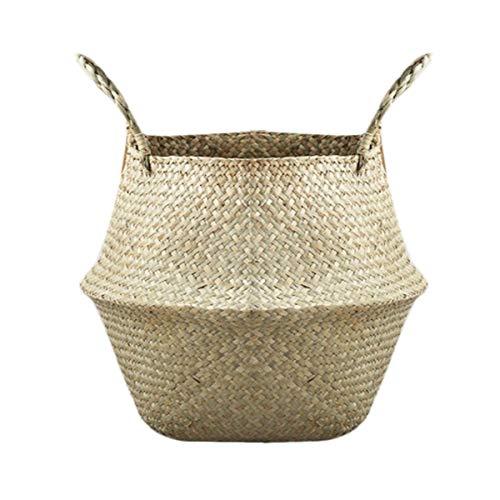 Greatangle Compact Natur Seegras Woven Speichertopf Garten-Blumen-Vase hängender Korb mit Griff Lagerung aufgeblähten Korb -