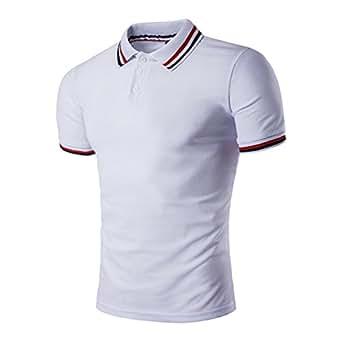 Hibote Polos Hommes Casual Stripe Bleu Patchwork Manches Courtes Polos Tennis Golf T-Shirts Classiques IuHt8qlb