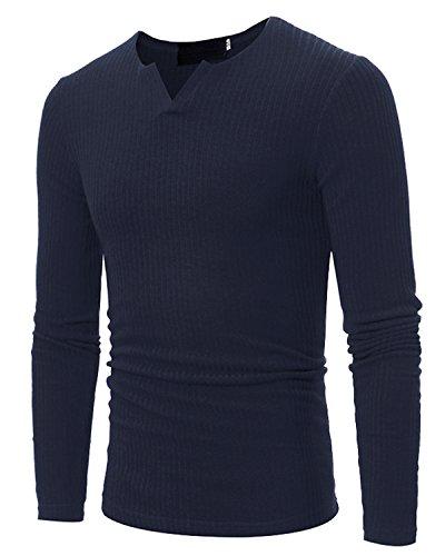 Pique V-ausschnitt Jersey (JOLIME Herren Strickpullover Basic Sweater mit V-Ausschnitt Slim Fit Warm Langarm Shirt)