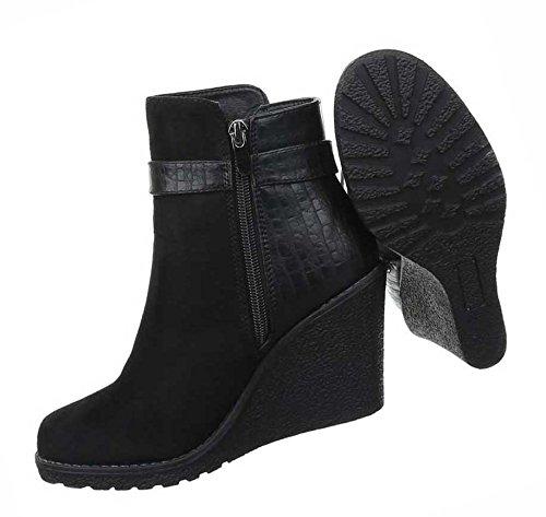 Senhoras Botas Sapatos Cunhas Cunha Stiefeletten Com Strass Preto Castanho 36 37 38 39 40 41