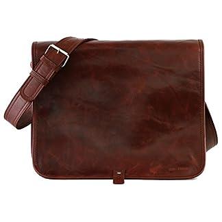 PAUL MARIUS bolso de cuero del mensajero apropiado para A4 tamaño (L) LE MESSAGER BRUN D'AUTOMNE colore marrón castaño