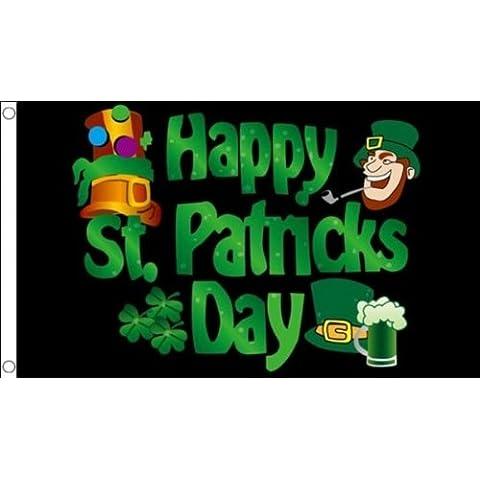 152,4 cm x 91,44 cm (150 x 90 cm) feliz San Patricio Irlanda Leprachaun irlandés Shamrock negro 100% Material del poliester bandera de la bandera Ideal para Pub Club escuela negocios