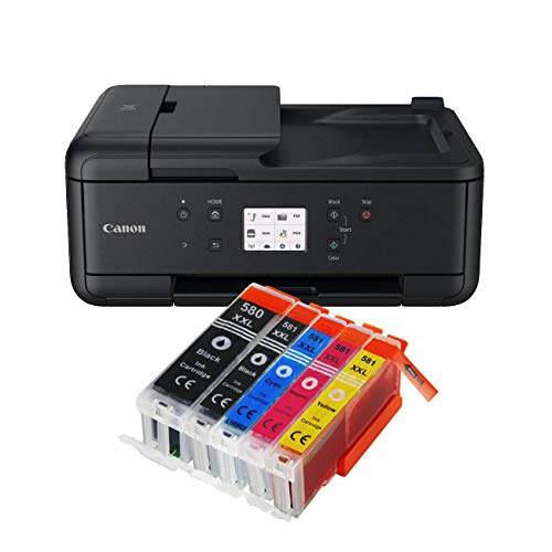 R-7550 All-in-One Farbtintenstrahl-Multifunktionsgerät (Drucker, Scanner, Kopierer, USB, WLAN, LAN, Apple AirPrint) Schwarz + 5er Set IC-Office XXL Tintenpatronen 580XXL 581XXL ()