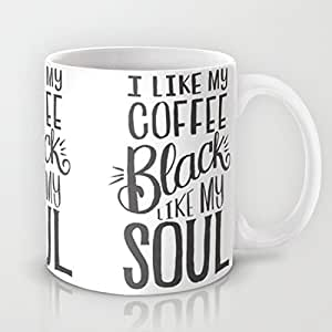 Hugpillows® I Like My Coffee Black Like My Soul Ceramic Coffee Mug 11oz