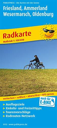 Friesland, Ammerland, Wesermarsch, Oldenburg: Radkarte mit Ausflugszielen, Einkehr- & Freizeittipps, wetterfest, reissfest, abwischbar, GPS-genau. 1:100000 (Radkarte / RK)