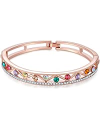 Jewels Galaxy Exclusive Luxuria Sparkling Colors AAA Swiss Cubic Zirconia Multicolor Stunning Designed 18K Rose Gold Bracelet