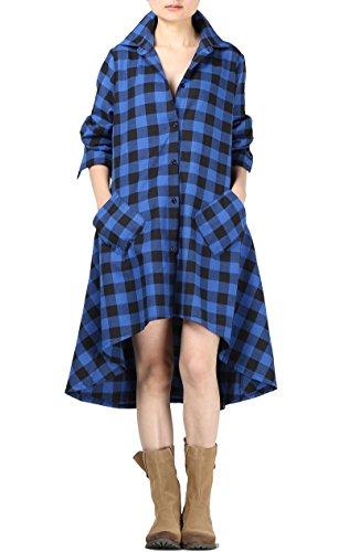 Vogstyle Damen 2017 Frühjahr Neu Langarm Asymmetrische Lässigen Karomuster Baumwolle T-Shirt Kleid Blau S (Checked Shirt-kleid)