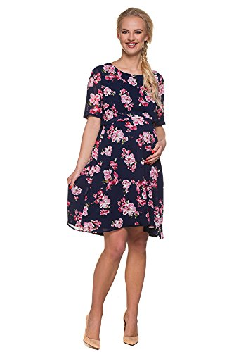My Tummy Mutterschafts Kleid Stillkleid Aurora Blumen rosa Navy - 3