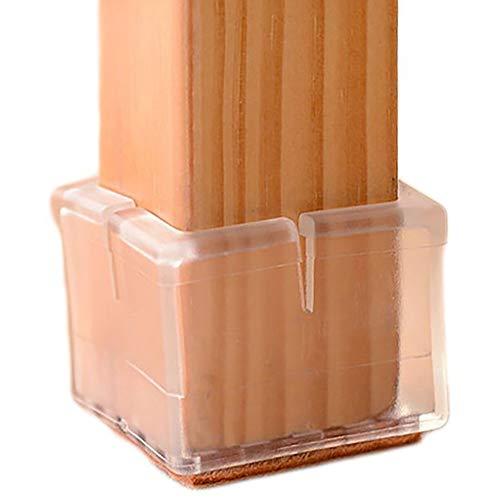 Anwenk Stuhl Bein Bodenschoner Stuhlbeinkappen Bodenschoner Möbel Stuhl Füße Bodenschoner | Best Stuhlbeinkappen Tipps, flexible Silikon, quadratisch, 1 1/20,3 cm-1 3/20,3 cm, transparent (16 Stück)