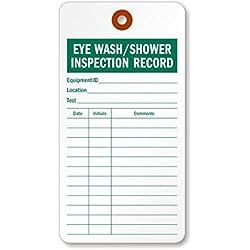 Lavage oculaire/douche d'inspection enregistrer, coloré 13pt papier cartonné Tag, 100étiquettes/lot, 7,6x 14,6cm